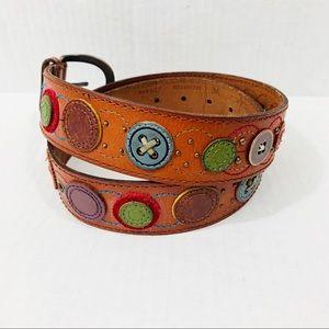 Fossil button embellished leather boho belt